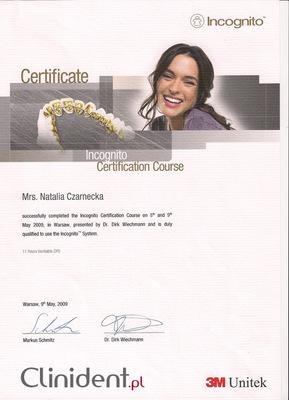 Certyfikat aparatów ortodontycznych typu Incognito