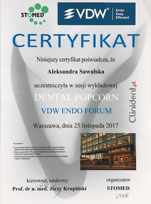 Stomed, VDW certyfikat, dental