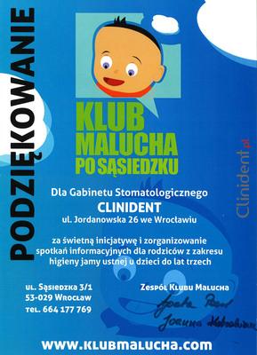 pedodoncja, przedszkole Klub Malucha, podziękowanie, po sąsiedzku, pedodonta Wrocław