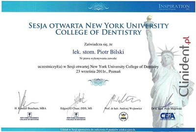 Sesja otwarta w New York University College of Dentistry