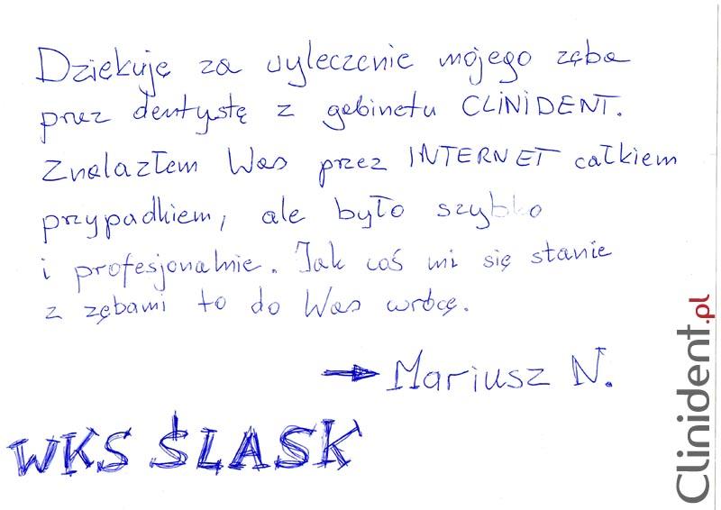 Opinia o Clinident od Mariusz N., WKS Śląsk