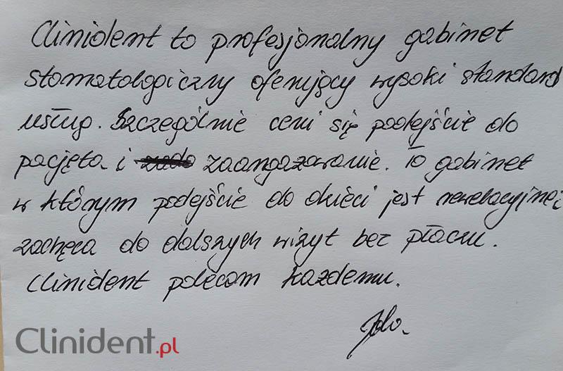 Opinia o Clinident od Jolanta Pinkoś